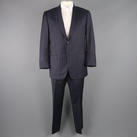 ISAIA 44 Regular Navy Striped Wool Single Breasted Notch Lapel  Suit
