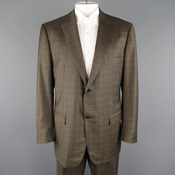 ISAIA 48 Long Brown Window Pane Wool Single Breasted 2 Button Suit