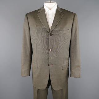 ISAIA 48 Long Taupe Beige Nailhead Wool 3 Button Notch Lapel  Suit