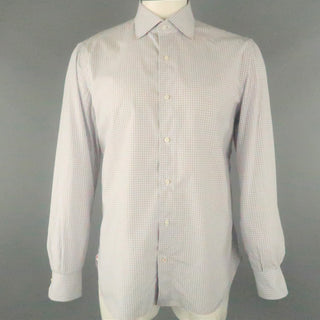 ISAIA Size L White & Blue Plaid Cotton Button Up Long Sleeve Shirt