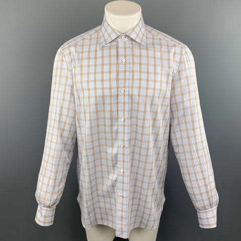 ISAIA Size M Blue & Brown Stripe Cotton Button Up Long Sleeve Shirt