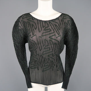 ISSEY MIYAKE Size M Black Pleated Green Ribbon Pattern Mesh Pullover - Sui Generis Designer Consignment