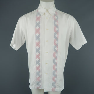 ISSEY MIYAKE Size XL White Cotton Plaid Stripe Short Sleeve Shirt - Sui Generis Designer Consignment