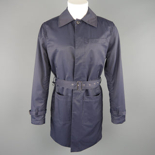J. PRESS 38 Navy Cotton / Nylon Hidden Placket Collared Trenchcoat - Sui Generis Designer Consignment