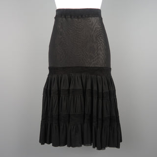 JEAN PAUL GAULTIER Size S Black Mesh Velour Trim Drop Waist Ruffle Skirt