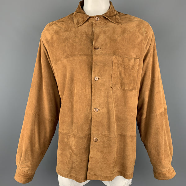 JHANE BARNES 44 Tan Solid Leather Oversized Jacket