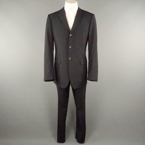 JIL SANDER 40 Black Solid Virgin Wool 36 36 Notch Lapel  Suit