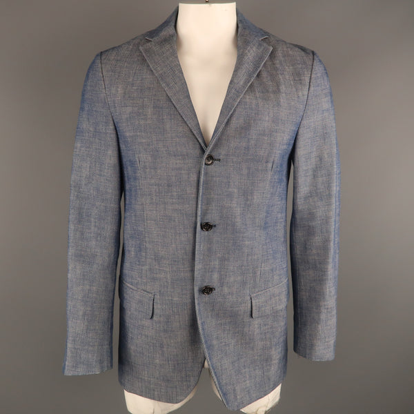 JIL SANDER 40 Indigo Textured Cotton Notch Lapel  Sport Coat