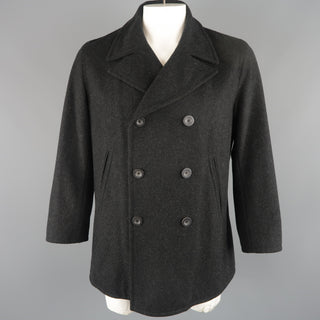 JIL SANDER 42 Charcoal Wool Double Breasted Pea Coat