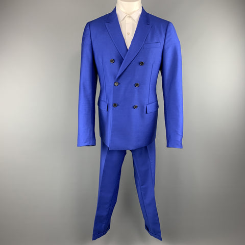 JIL SANDER 42 Royal Blue Solid Wool / Mohair Double Breasted Peak Lapel Suit
