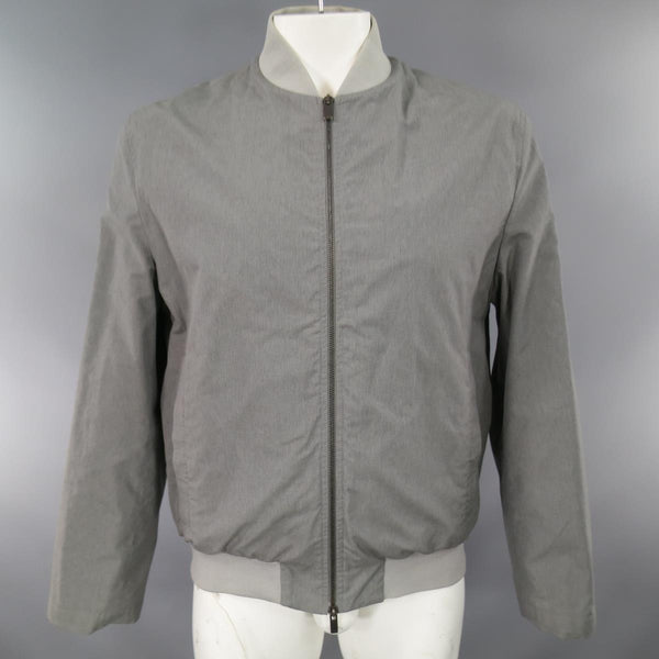 JIL SANDER 44 Gray Wool / Cotton Light Weight Bomber Jacket