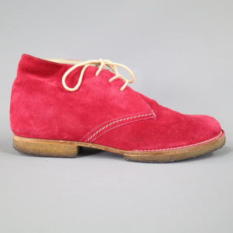 JIL SANDER Size 8 Red Suede Crepe Sole Chukka Boots