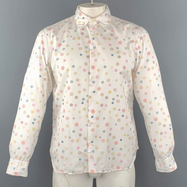 JIL SANDER Size L White Print Cotton Button Up Long Sleeve Shirt