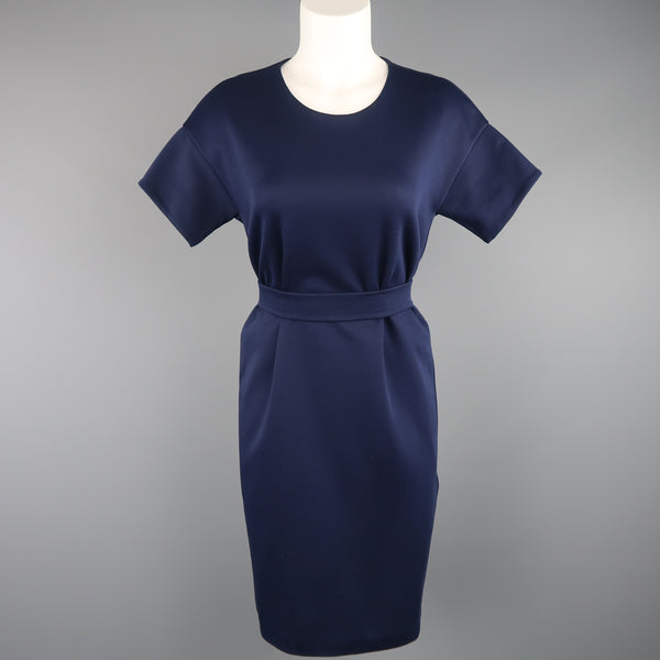 JIL SANDER Size M Navy Cotton / Polyester Jersey Short Sleeve Belted Shift Dress - Sui Generis Designer Consignment