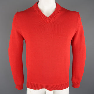 JIL SANDER Size M Red Knitted Cotton Pullover Sweater