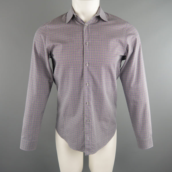 JIL SANDER Size S Navy & Green Checkered Cotton Long Sleeve Shirt