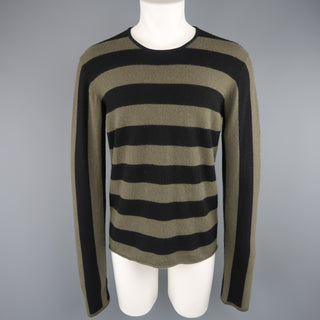 JIL SANDER Size XL Black & Olive Green Striped Cashmere Pullover Sweater