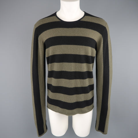 JIL SANDER Size XL Black & Olive Green Striped Cashmere Pullover Sweater - Sui Generis Designer Consignment