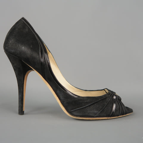 JIMMY CHOO BOUTIQUE Size 9 Black Suede Gold Hoop Peep Toe Pumps