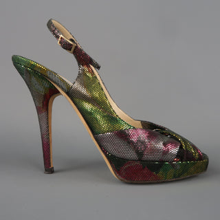 JIMMY CHOO Size 6.5 Multi-Color Lame' Slingbakc Platform Pumps