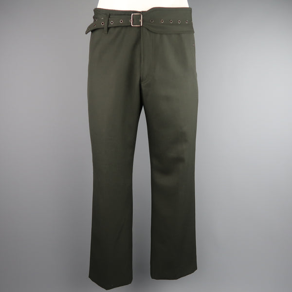 JOHN BARTLETT Size 34 Olive Wool Wide Leg Grommet Belt Pants