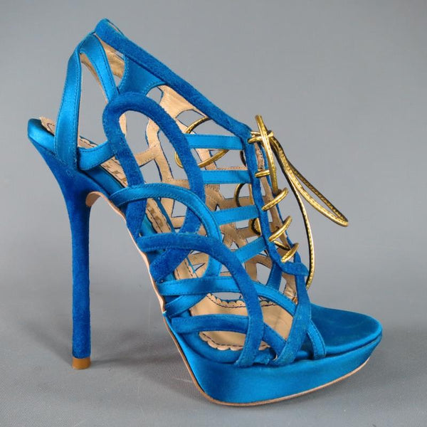 JOHN GALLIANO 6 Aqua Blue Silk & Suede Platform Gold Lace Up Platform Sandals