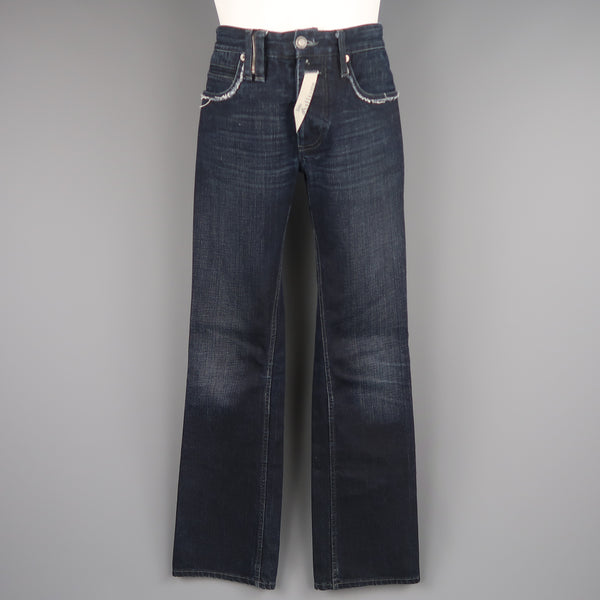 JOHN GALLIANO Size 30 Navy Wash Distressed Denim Back Hoop Jeans - Sui Generis Designer Consignment