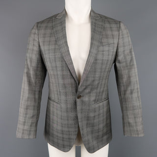 JOHN VARVATOS 36 Grey Plaid Wool Peak Lapel Sport Coat