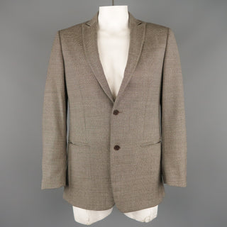 JOHN VARVATOS Chest Size 38 Regular Brown & Grey Nailhead Virgin Wool Sport Coat