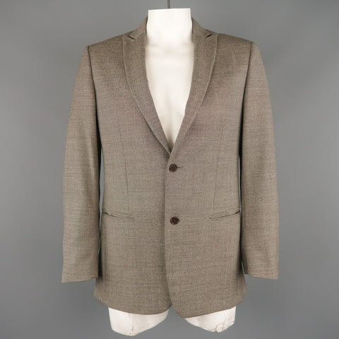 JOHN VARVATOS 38 Regular Brown & Grey Nailhead Virgin Wool Peak Lapel Sport Coat