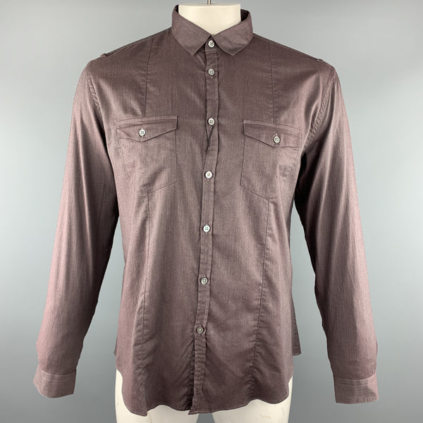 JOHN VARVATOS Size L Brown Solid Cotton Button Up Long Sleeve Shirt