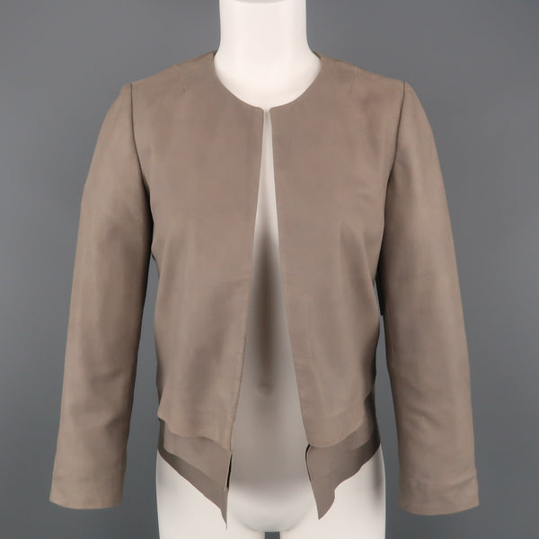 JOIE Size XS Taupe Gray Leather Collarless Open Jacket