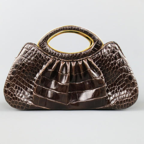 JUDITH LEIBER Brown & Gold Alligator Leather Evening Handbag