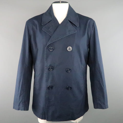 JUNYA WATANABE L Navy Solid Cotton Double Breasted Peacoat Jacket - Sui Generis Designer Consignment