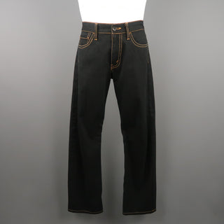 JUNYA WATANABE Size 34 Black Gold Contrast Stitch Jeans