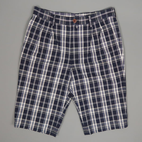 JUNYA WATANABE Size S Navy & White Plaid Cotton Shorts