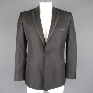 JUST CAVALLI 42 Black Wool Blend Satin Piping Peak Lapel Sport Coat Jacket