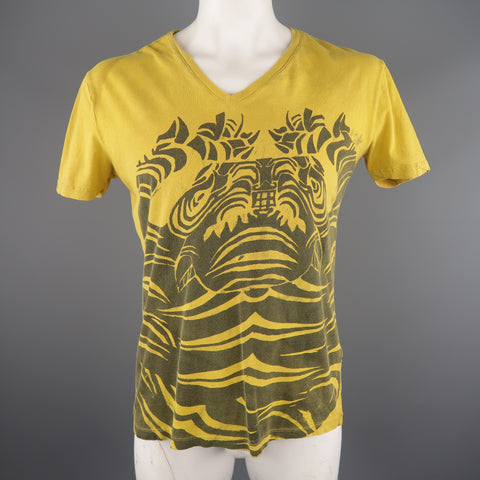 JUST CAVALLI Size L Yellow Graphic Cotton T-shirt