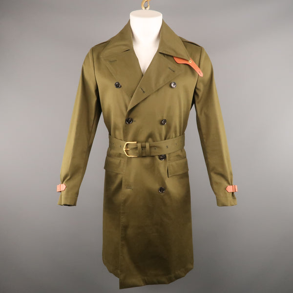 KENT CURWEN Chest Size S Olive Solid Cotton Notch Lapel Trenchcoat