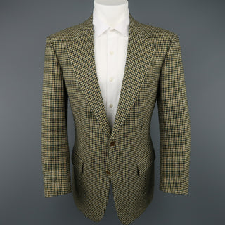 KITON 40 Green & Tan Gold Houndstooth Wool / Cashmere Notch Lapel Sport Coat - Sui Generis Designer Consignment