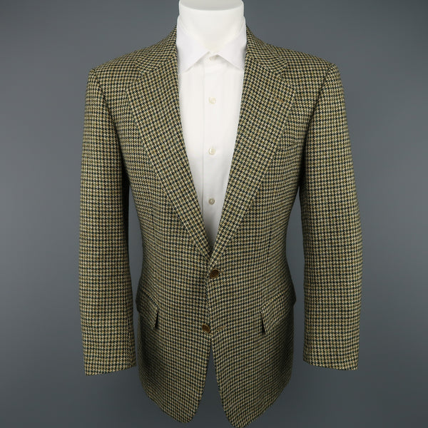 KITON 40 Green & Tan Gold Houndstooth Wool / Cashmere Notch Lapel Sport Coat