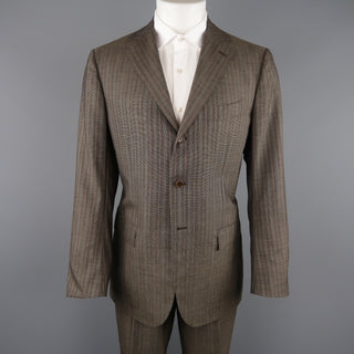 KITON 42 Regular Brown & Orange Pinstripe Cashmere 3 Button Notch Lapel Suit
