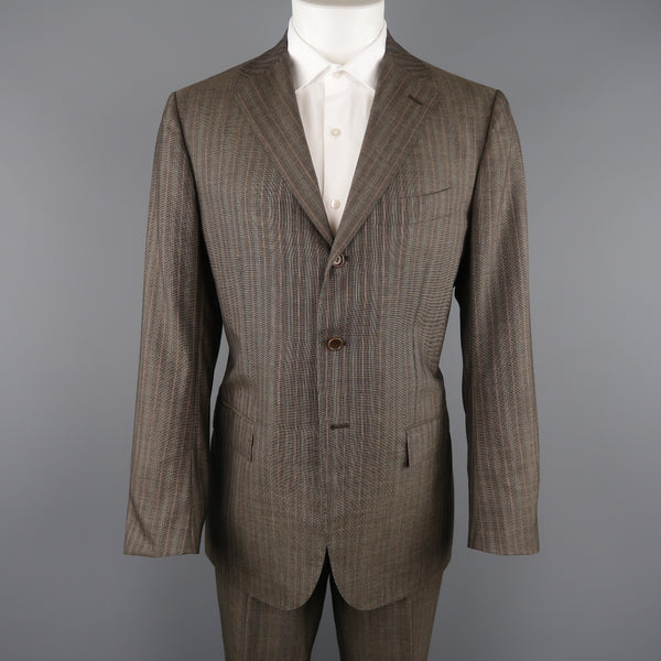 ff70593df07 KITON 42 Regular Brown & Orange Pinstripe Cashmere 3 Button Notch ...