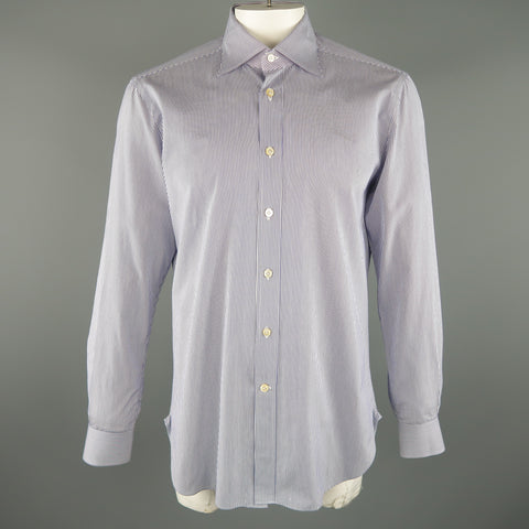 1e17de69ea KITON Size L Navy Pinstripe Cotton Long Sleeve Shirt
