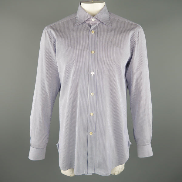 KITON Size L Navy Pinstripe Cotton Button Up Long Sleeve Shirt