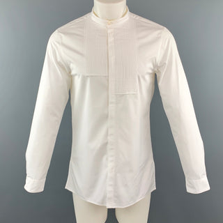 KNOTT Size S White Cotton Nehru Collar Tuxedo Short Sleeve Shirt