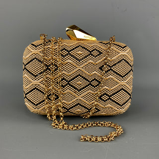 KOTUR Beige & Black Fabric Woven Gold Chain Handbag