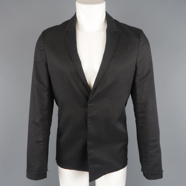 KRIS VAN ASSCHE 36 Regular Black Layered Raw Edge Wool Sport Coat