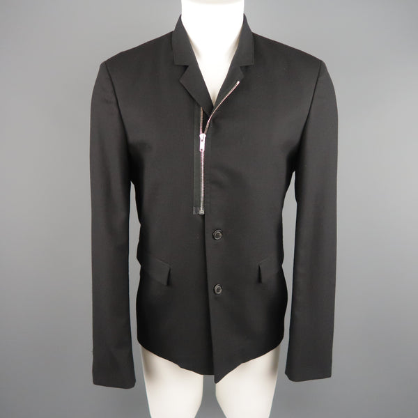 KRIS VAN ASSCHE 42 Short Black Wool Blend Sport Coat