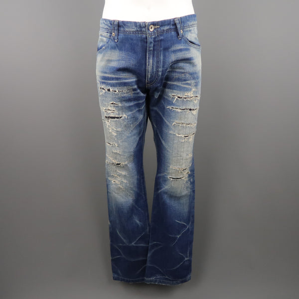 KZO Size 36 Indigo Distressed Denim Jeans